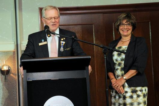 Lizzie with Rotary District Governor Keith Roffey in Sydney.