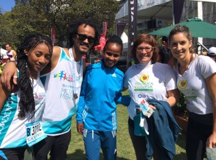 Pictured with Ethiopian marathon champion Beruktait Degefa